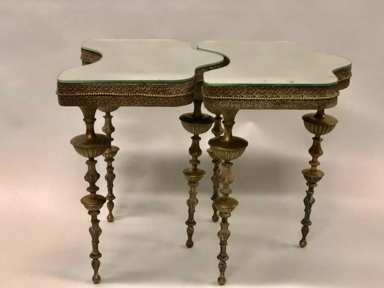 Important Pair of Italian Modern Neoclassical Bronze Side Tables by Gio Ponti In Good Condition For Sale In New York, NY