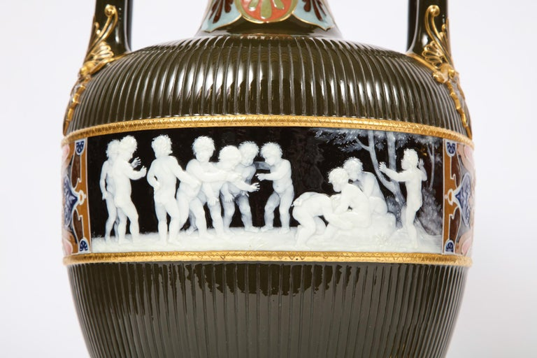 Pair of Mintons Pate Sur Pate Vases with Multi-Panel Neoclassical Subjects For Sale 4