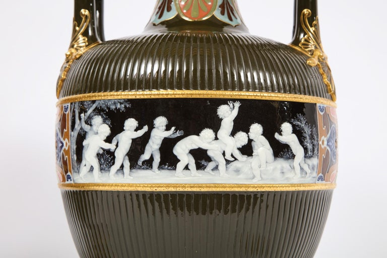 Pair of Mintons Pate Sur Pate Vases with Multi-Panel Neoclassical Subjects For Sale 6