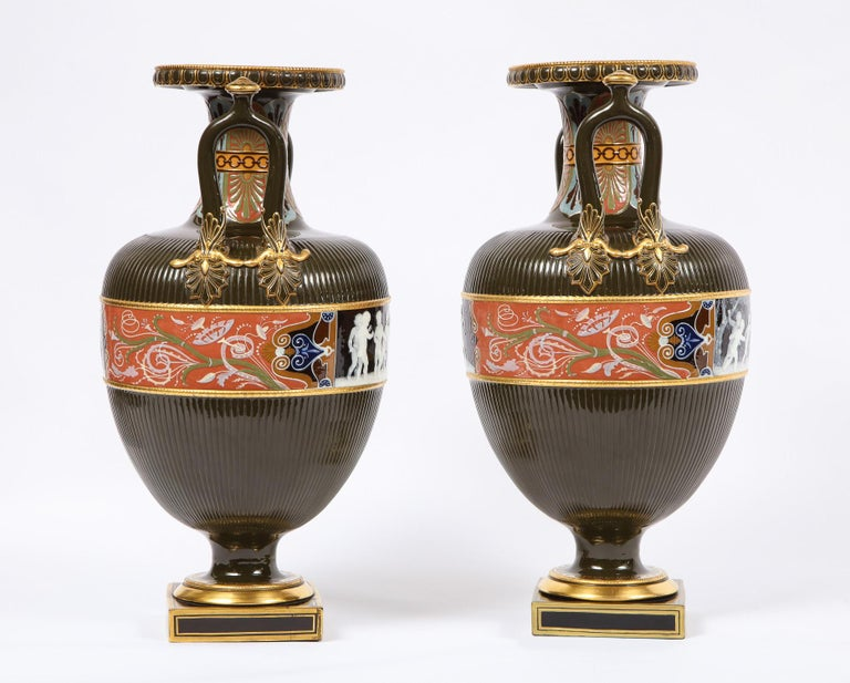 Pair of Mintons Pate Sur Pate Vases with Multi-Panel Neoclassical Subjects For Sale 11