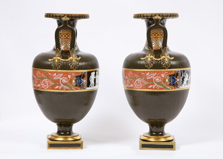 English Pair of Mintons Pate Sur Pate Vases with Multi-Panel Neoclassical Subjects For Sale