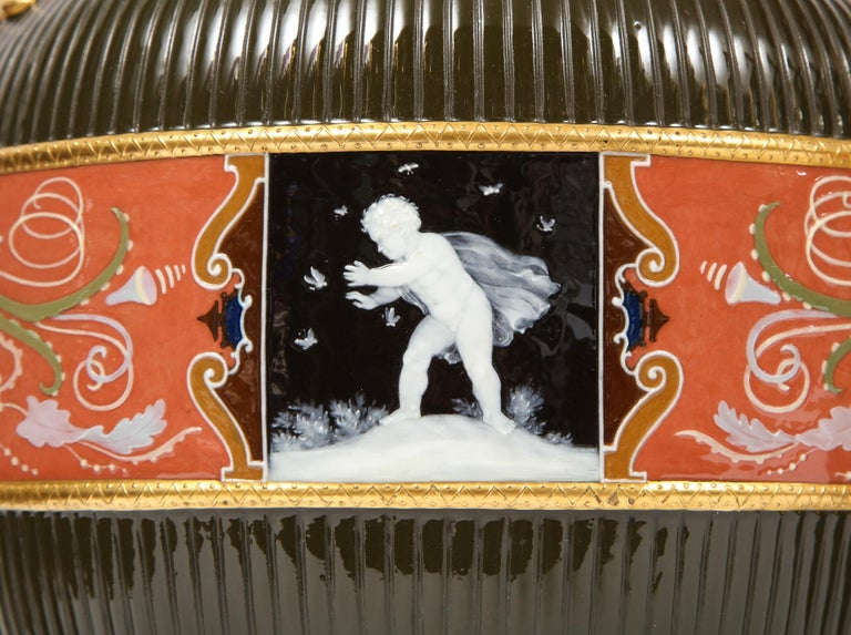Pair of Mintons Pate Sur Pate Vases with Multi-Panel Neoclassical Subjects In Good Condition For Sale In New York, NY