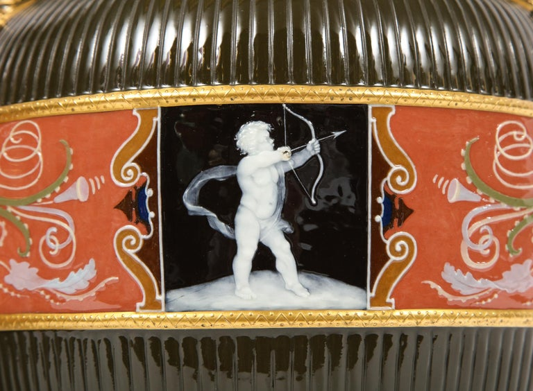 Late 19th Century Pair of Mintons Pate Sur Pate Vases with Multi-Panel Neoclassical Subjects For Sale