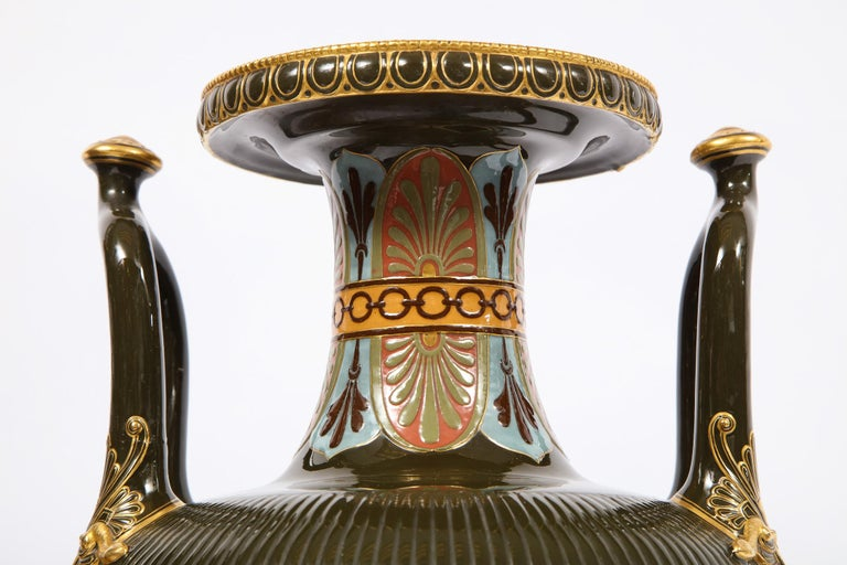 Porcelain Pair of Mintons Pate Sur Pate Vases with Multi-Panel Neoclassical Subjects For Sale