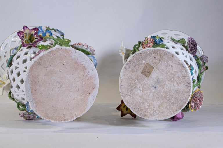 Important Pair of Meissen Porcelain Filigree Vases with Raised Flowers For Sale 8