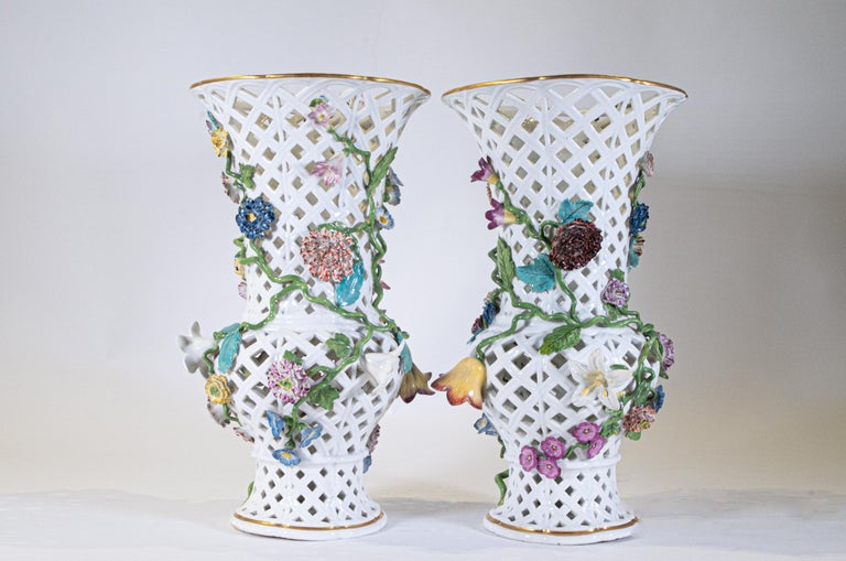 Louis XV Important Pair of Meissen Porcelain Filigree Vases with Raised Flowers For Sale