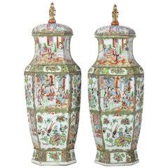 Important Pair of 19th Century Mandarin Cap Hexagon Vases