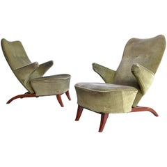 Important pair of 1st edition early Congo Arm Chairs by Theo Ruth, Artifort 1948