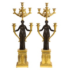 Important Pair of 1st Period French Empire Pat. & Dore Bronze 6-Light Candelabra