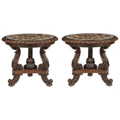 Important Pair of Circular George IV Specimen Marble-Top Tables