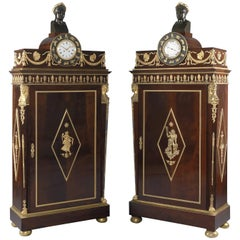 Important Pair of Empire Style Mahogany Side Cabinets by Fournier, circa 1880