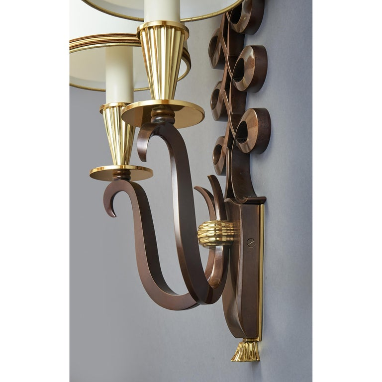 Important Pair of Genet & Michon Bronze Sconces, France, 1950s In Good Condition For Sale In New York, NY