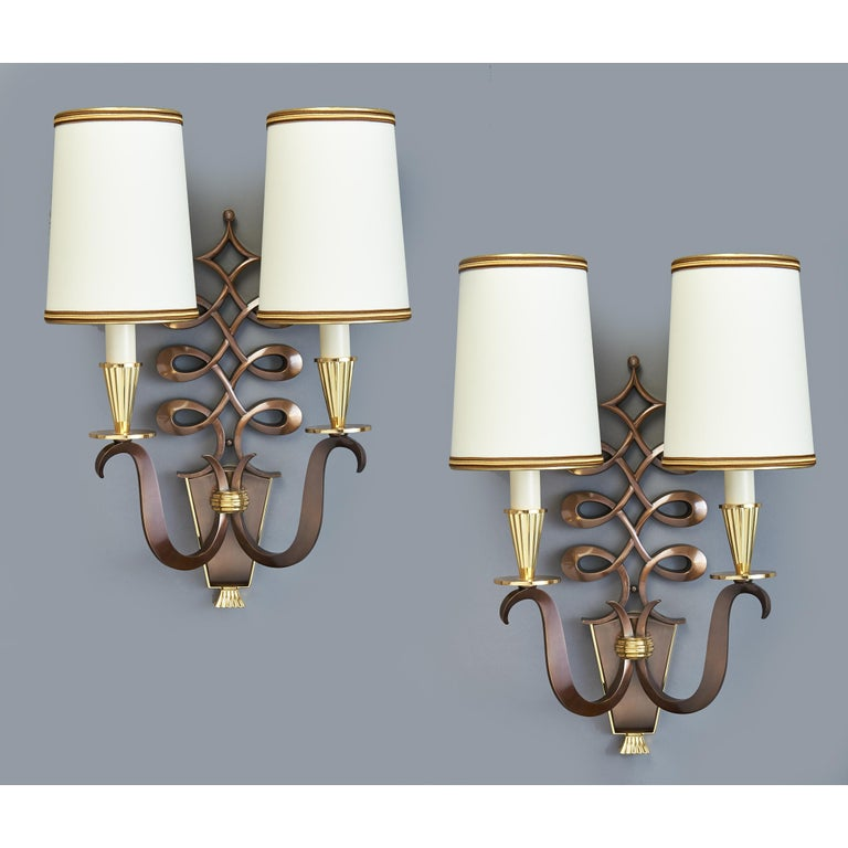 Mid-20th Century Important Pair of Genet & Michon Bronze Sconces, France, 1950s For Sale