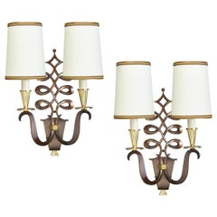 Important Pair of Genet & Michon Bronze Sconces, France, 1950s