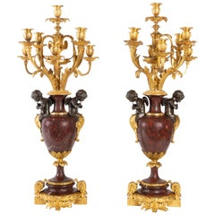 Important Pair of Gold and Silver Bronze Candelabra