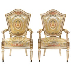 Important Pair of Italian Painted Fauteuils Florence, 18th Century