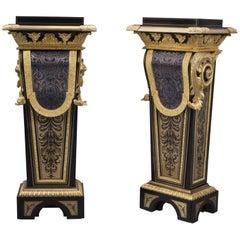 Important Pair of Louis Philippe Boulle Pedestals by Béfort Jeune