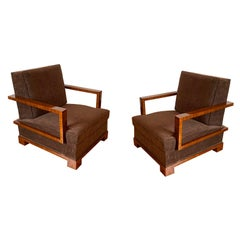 Important Pair of Lounge Chairs and Ottomans by Osvaldo Borsani Italy, 1930