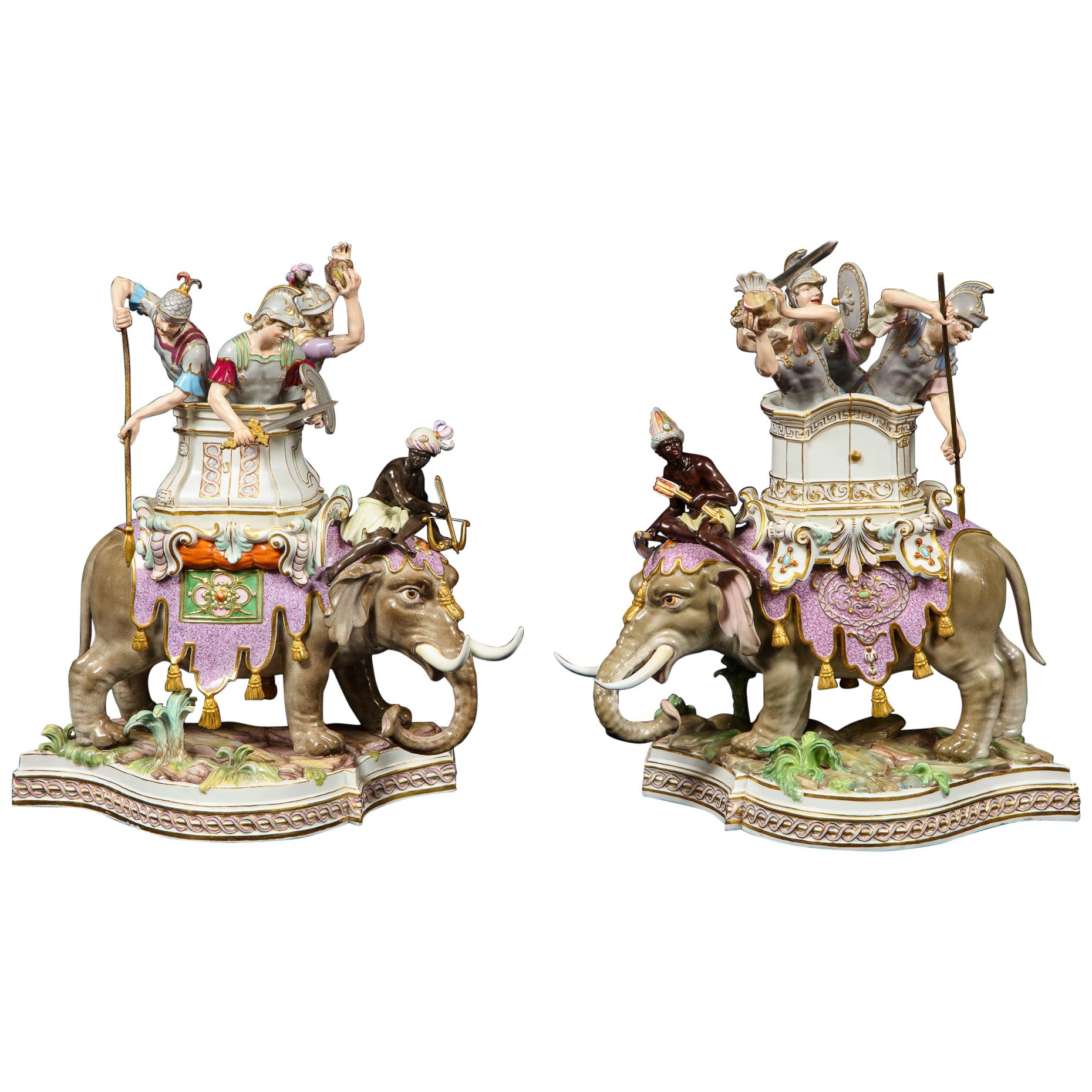 Important Pair of Meissen Porcelain Groups of Caparisoned Elephants and Soldiers