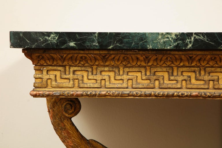 Important Pair of Mid-18th Century George II Giltwood Griffin Console Tables For Sale 4