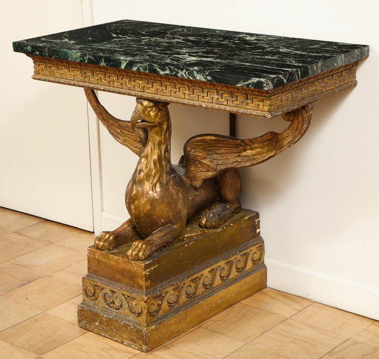 Hand-Carved Important Pair of Mid-18th Century George II Giltwood Griffin Console Tables For Sale
