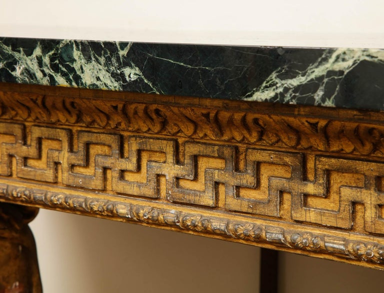 Important Pair of Mid-18th Century George II Giltwood Griffin Console Tables For Sale 1