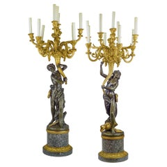 Important Pair of Monumental Ormolu and Patinated Bronze Nine-Light Candelabra
