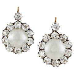 Important Pair of Natural Pearl and Diamond Earrings