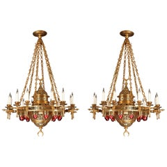 Important Pair of Oriental Style Chandeliers