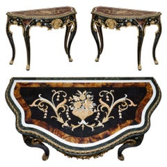 Important Pair of Pietra Dura Marble Demilune Console Tables Bronze Gilding
