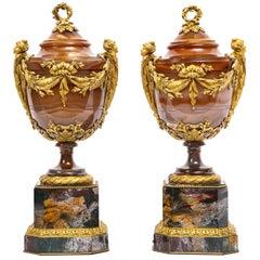 Important Pair of Russian Imperial Agate and Bloodstone Ormolu Mtd. Jasper Vases