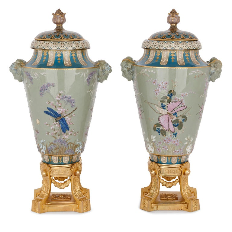 These very important vases combine the best of 19th century French craftsmanship with the most elegant and beautiful of Japanese-inspired design. The vases were crafted by the prestigious Manufacture Nationale de Sèvres in 1867, the firm responsible
