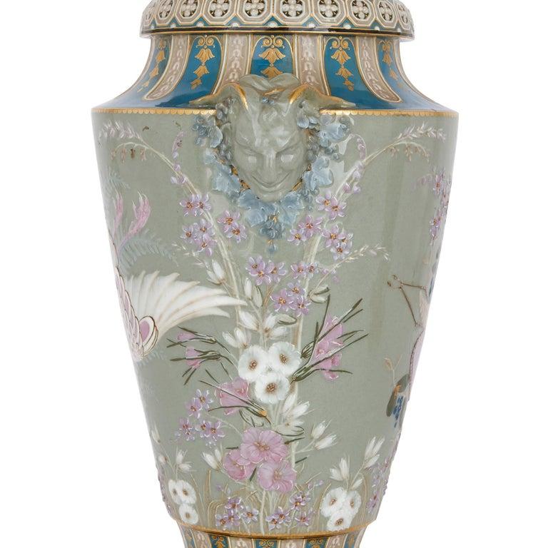 Japonisme Two Sèvres Gilt Bronze Mounted Porcelain Pâte-sur-pâte Vases by Gely For Sale