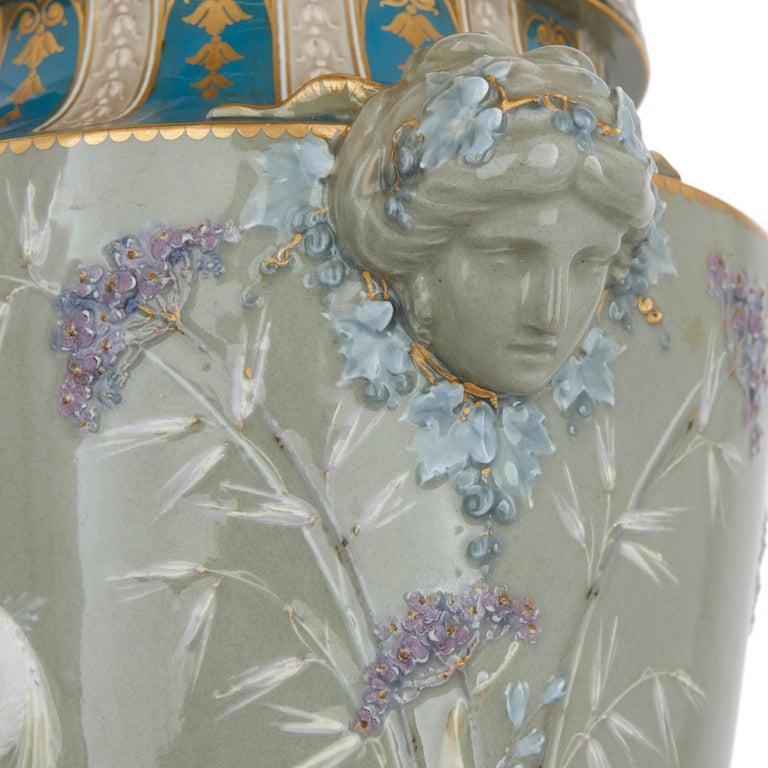 Two Sèvres Gilt Bronze Mounted Porcelain Pâte-sur-pâte Vases by Gely For Sale 1