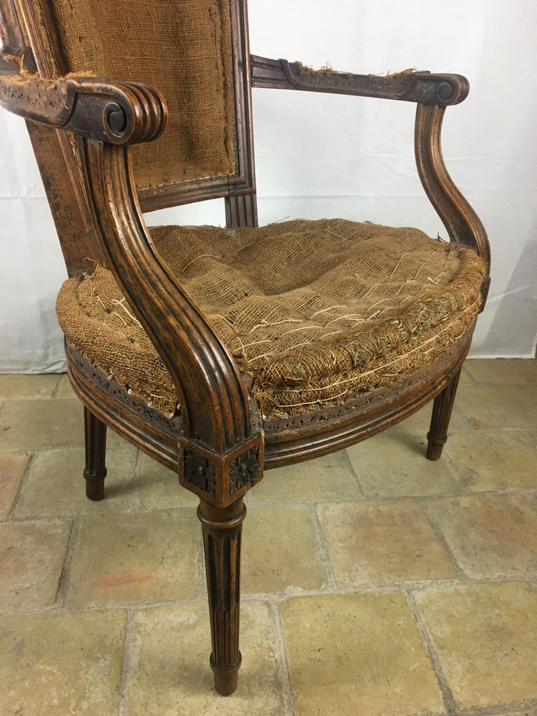 Important Pair of Stamped Louis XVI 18th Century Armchair or Fauteuils For Sale 3