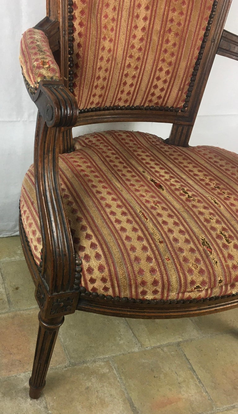 Important Pair of Stamped Louis XVI 18th Century Armchair or Fauteuils For Sale 6