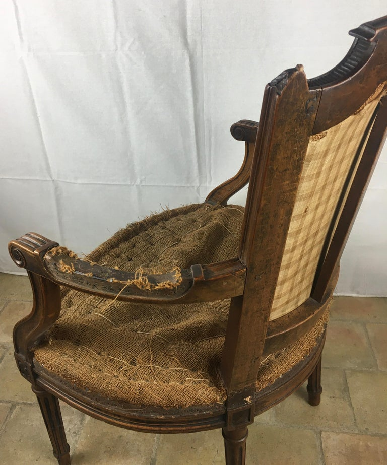 Important Pair of Stamped Louis XVI 18th Century Armchair or Fauteuils For Sale 7