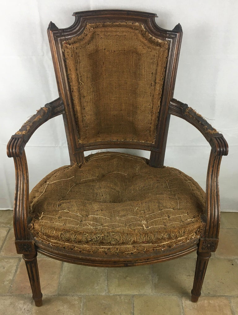 French Important Pair of Stamped Louis XVI 18th Century Armchair or Fauteuils For Sale