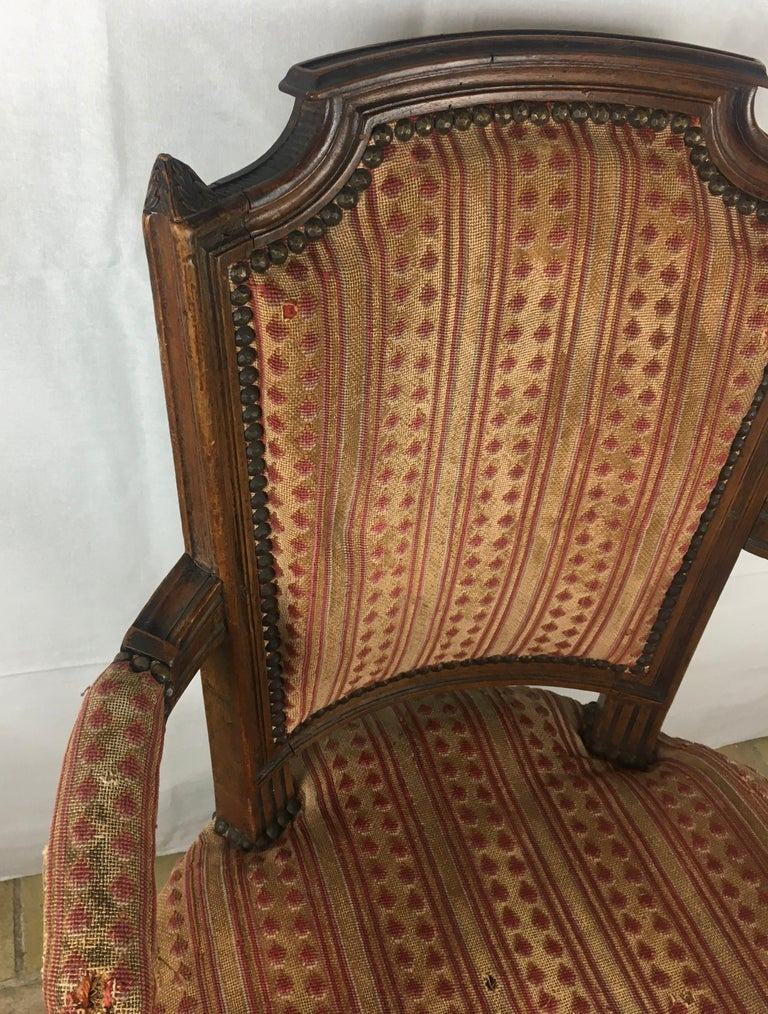 Important Pair of Stamped Louis XVI 18th Century Armchair or Fauteuils For Sale 1