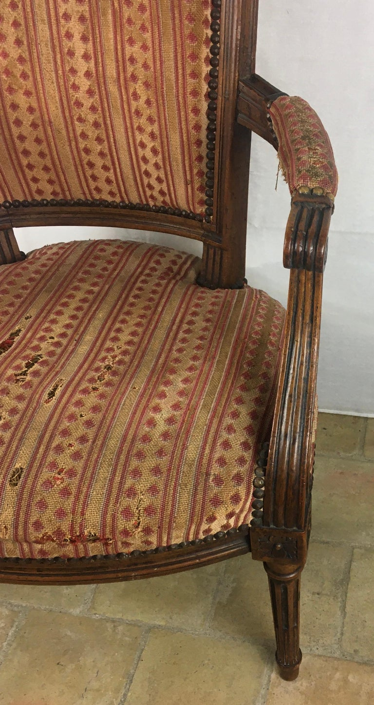 Important Pair of Stamped Louis XVI 18th Century Armchair or Fauteuils For Sale 2