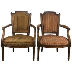 Important Pair of Stamped Louis XVI 18th Century Armchair or Fauteuils