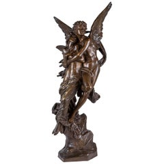 Important Patinated Bronze Group Depicting Cupid and Psyche