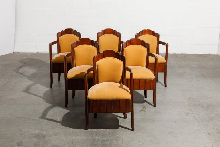 This set of important Pierre Patout open arm chairs were from the first class dining room on board of the S.S. Île de France, circa 1927. With excellent provenance, this exact set was previously sold at Christie's New York on June 1, 2006 during