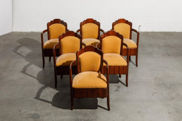 Art Deco Important Pierre Patout Mahogany Dining Chairs from S.S. Île de France, c. 1927 For Sale