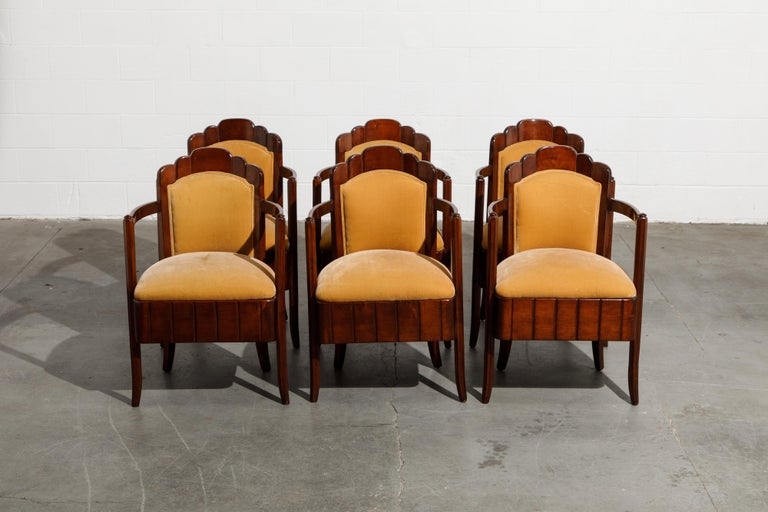French Important Pierre Patout Mahogany Dining Chairs from S.S. Île de France, c. 1927 For Sale