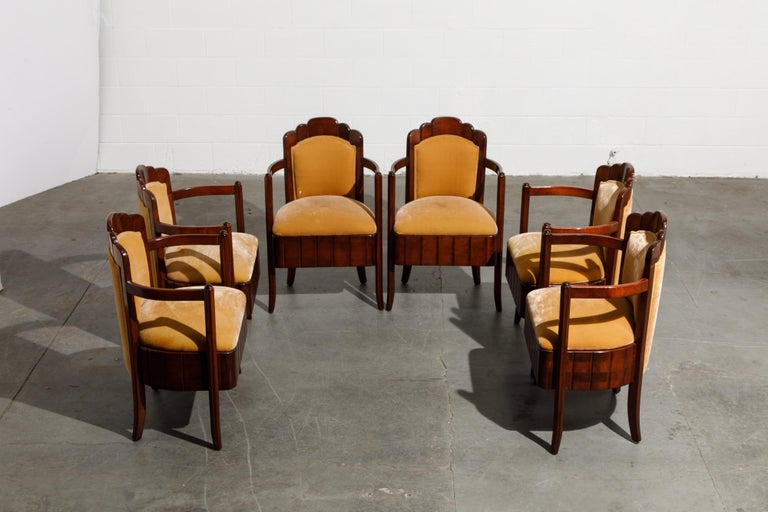 Important Pierre Patout Mahogany Dining Chairs from S.S. Île de France, c. 1927 In Good Condition For Sale In Los Angeles, CA