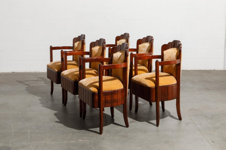 Early 20th Century Important Pierre Patout Mahogany Dining Chairs from S.S. Île de France, c. 1927 For Sale