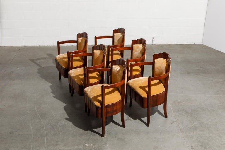 Velvet Important Pierre Patout Mahogany Dining Chairs from S.S. Île de France, c. 1927 For Sale