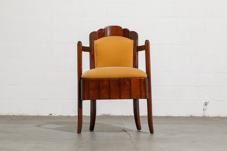 Important Pierre Patout Mahogany Dining Chairs from S.S. Île de France, c. 1927 For Sale 1