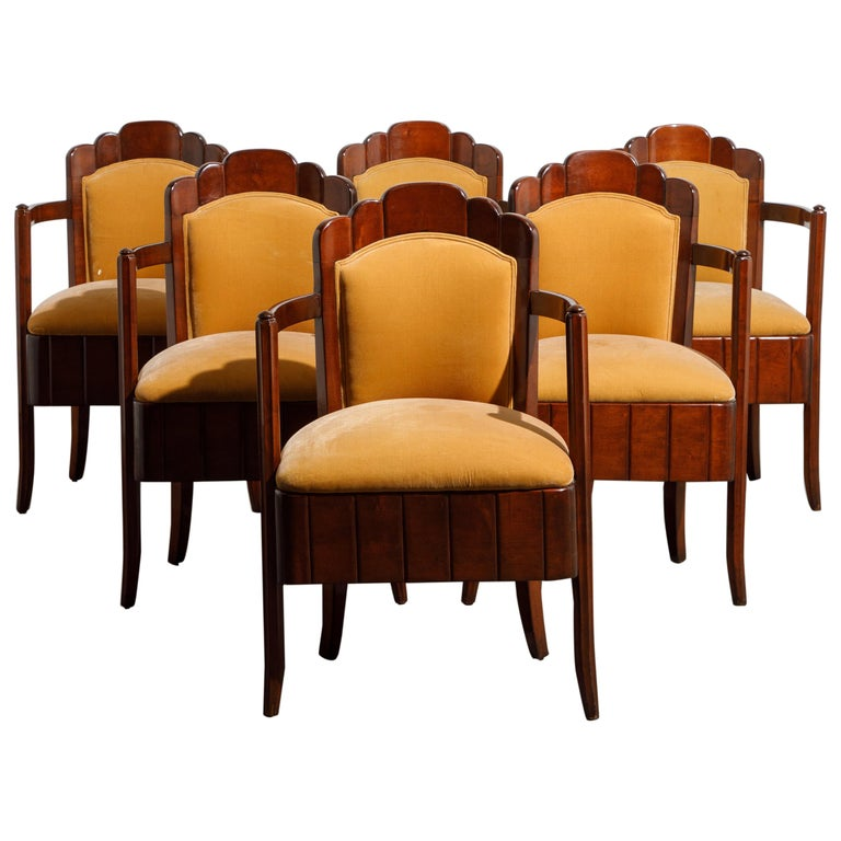 Pierre Patout mahogany dining chairs from S.S. <i>Île de France</i>, ca. 1927